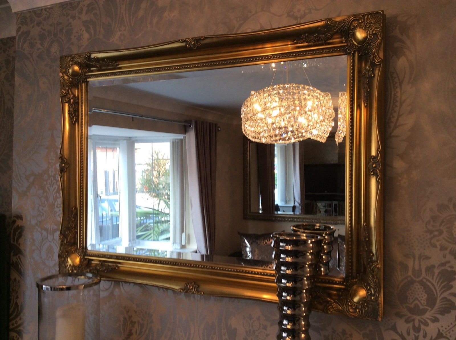 Gold Metal Wall Mirror: Large Antique Gold Shabby Chic Ornate Decorative Over